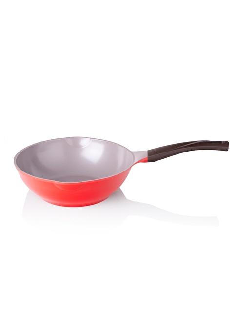 Cheftopf Cookware By Biev Kırmızı 26 Cm Wok Tava Kırmızı